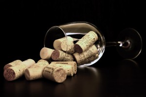 Brown Corks On Clear Wine Glass 36741